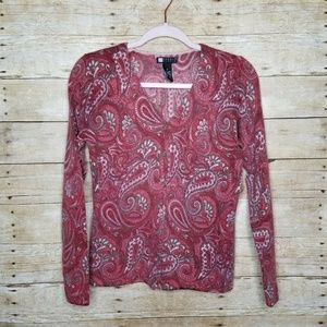 Carole Little Cardigan Womens Small Red Paisley